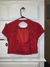 Sherri Hill Red Size 2 Backless Homecoming Cap Sleeve Ball gown on Queenly
