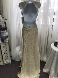 Tony Bowls Yellow Size 2 Backless Jewelled Sequin Straight Dress on Queenly