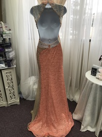 Tony Bowls Orange Size 0 High Neck Sheer Straight Dress on Queenly