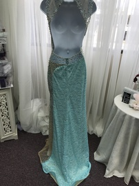 Tony Bowls Blue Size 2 Backless Jewelled Sequin Straight Dress on Queenly