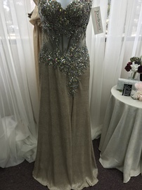 Tony Bowls Nude Size 2 Jewelled Strapless Sequin Side slit Dress on Queenly