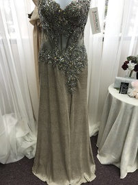Queenly size 2 Tony Bowls Nude Side slit evening gown/formal dress