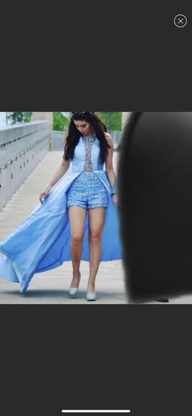 Rachel Allan Blue Size 6 Fun Fashion Overskirt A-line Dress on Queenly