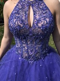 Mori Lee Purple Size 6 Medium Height Backless Ball gown on Queenly