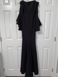 Faviana Black Size 0 Side Slit Medium Height Straight Dress on Queenly