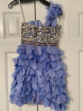 Sherri Hill Blue Size 0 One Shoulder Cocktail Dress on Queenly
