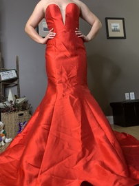 Jovani Red Size 4 Train Strapless Plunge Mermaid Dress on Queenly