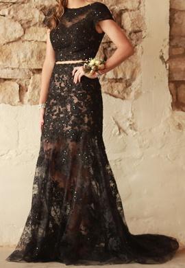 Sherri Hill Black Size 6 Sheer Cap Sleeve Mermaid Dress on Queenly