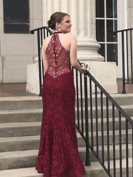 Ellie Wilde Red Size 6 Jersey Maroon Burgundy Mermaid Dress on Queenly