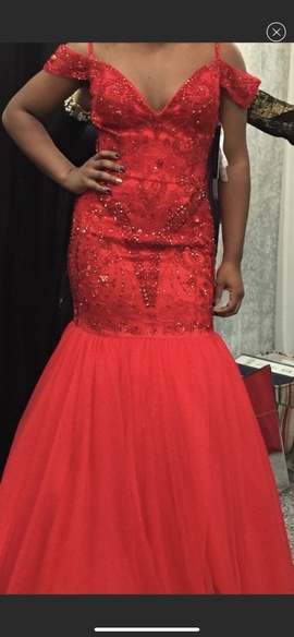 Sherri Hill Red Size 4 Pageant V Neck Mermaid Dress on Queenly