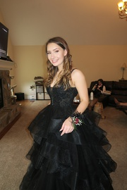 Ellie Wilde Black Size 2 Medium Height Backless Ball gown on Queenly