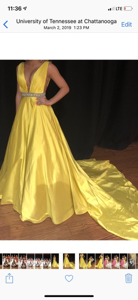 Queenly size 0 Sherri Hill Yellow Ball gown evening gown/formal dress