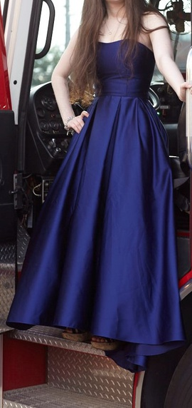 Betsy & Adam Blue Size 2 Train Betsy And Adam Ball gown on Queenly