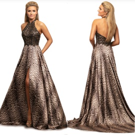 Queenly size 12 Johnathan Kayne Gold Side slit evening gown/formal dress