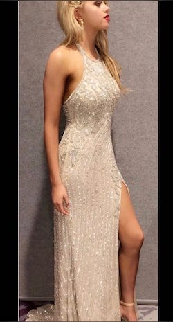 Sherri Hill Gold Size 4 Pageant Side slit Dress on Queenly