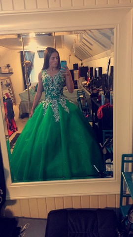 Queenly size 2  Green Ball gown evening gown/formal dress