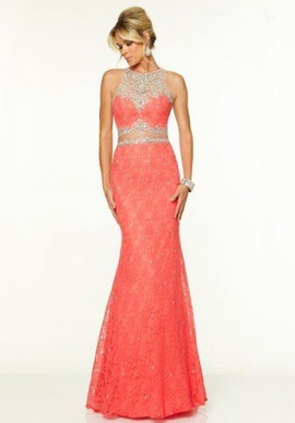 Queenly size 2 Mori Lee Orange Mermaid evening gown/formal dress