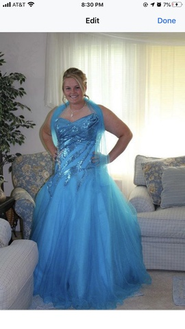 Tony Bowls Blue Size 18 Plus Size Ball gown on Queenly