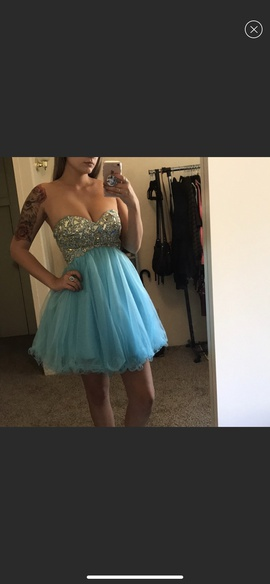 Tony Bowls Blue Size 4 Sequin Ball gown on Queenly