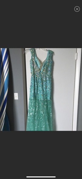 Tony Bowls Blue Size 4 Backless Jewelled Sequin Train Dress on Queenly