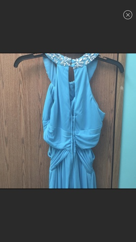 B. Darlin Blue Size 2 Cut Out Halter Straight Dress on Queenly