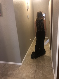 Mori Lee Black Size 00 Train Side slit Dress on Queenly