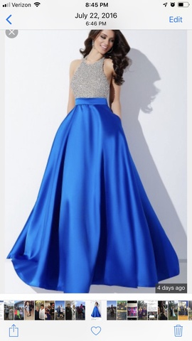 Jovani Blue Size 6 Ball gown on Queenly