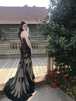 Tiffany Designs Black Size 4 Medium Height Train Dress on Queenly