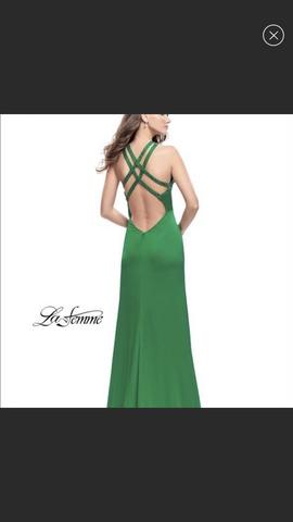 La Femme Green Size 2 Side slit Dress on Queenly