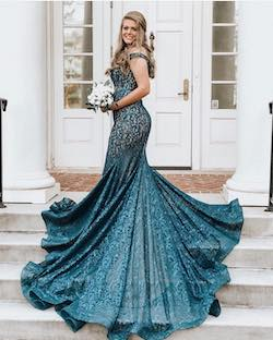 Jovani Blue Size 6 Medium Height Mermaid Dress on Queenly