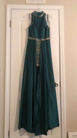 Queenly size 4 Lucci Lu Green Romper/Jumpsuit evening gown/formal dress