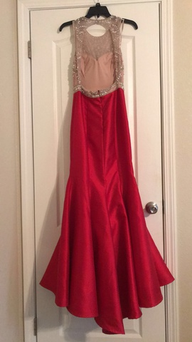 Xscape Red Size 2 Lace Mermaid Dress on Queenly
