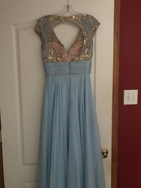 Mac Duggal Blue Size 4 Mini Plunge Train Dress on Queenly