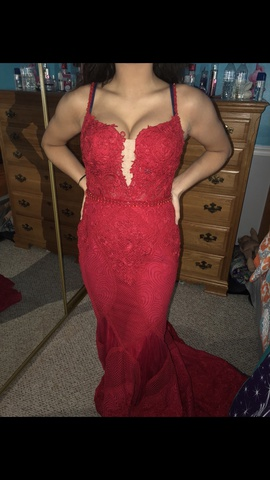 Mac Duggal Red Size 6 Sheer Straight Dress on Queenly