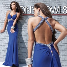 Tony Bowls Blue Size 6 Jewelled Sequin Straight Dress on Queenly