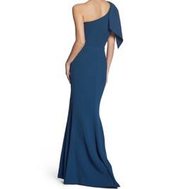 Dress the Population Blue Size 0 Side Slit One Shoulder Straight Dress on Queenly