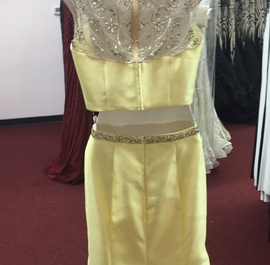 Mac Duggal Yellow Size 14 Plus Size Mermaid Dress on Queenly