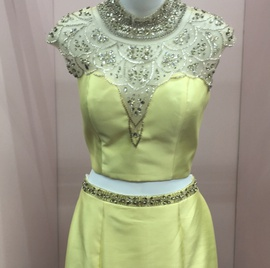 Queenly size 14 Mac Duggal Yellow Mermaid evening gown/formal dress