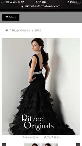 Ritzee Black Size 2 Ruffles Side slit Dress on Queenly