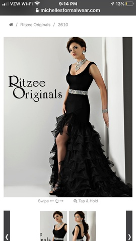 Queenly size 2 Ritzee Black Side slit evening gown/formal dress