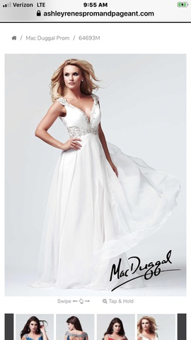 Mac Duggal White Size 10 Side Slit Jewelled Train Dress on Queenly