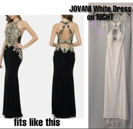Jovani White Size 4 Halter Backless High Low Mermaid Dress on Queenly