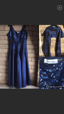 Queenly size 8 Calvin Klein Blue A-line evening gown/formal dress