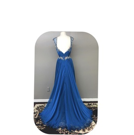 Mac Duggal Blue Size 6 Sweetheart Macduggal Backless A-line Dress on Queenly