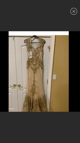 Jovani Gold Size 10 Prom Cap Sleeve Mermaid Dress on Queenly