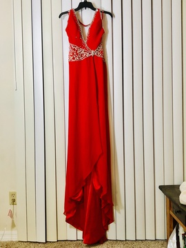 Crown Collection Red Size 4 Medium Height Backless Side slit Dress on Queenly