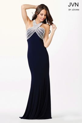 Jovani Blue Size 6 Backless Straight Dress on Queenly