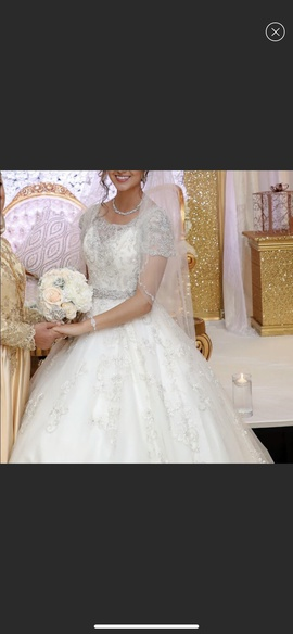 Mori Lee White Size 4 Ivory Jewelled Sequin Ball gown on Queenly