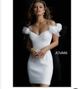 Queenly size 2 Jovani White Cocktail evening gown/formal dress
