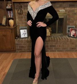 Johnathan Kayne Black Size 4 Side slit Dress on Queenly